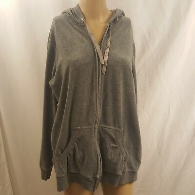 Motherhood Maternity Women's Velour Full Zip Hoodie Gray Size Large Pregnant Mom