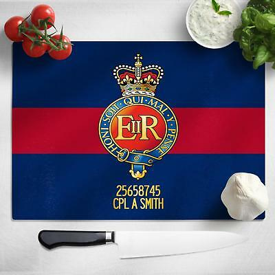 Personalised Household Cavalry Glass Chopping Cutting Board Worktop Saver MT68