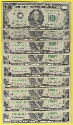 1974-1993 Frn One Hundred Dollar Bills..old Currency..small Heads..$100.00