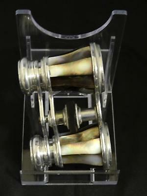 Antique Victorian Mother-Of-Pearl & Silver Plate Opera Glasses, C. 19th Century