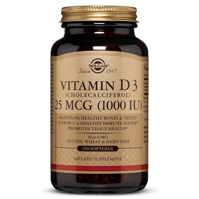 Solgar Vitamin D3 (Cholecalciferol) 1000 IU 250 Softgels FRESH Made In USA