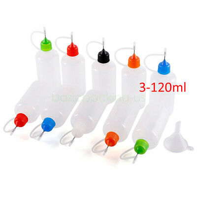3ml-120ml Needle Tip LDPE Empty Squeeze Dropper Juice Eye Liquid Bottle + Funnel