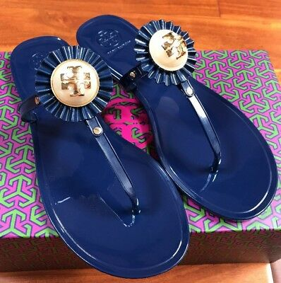 b5e23db5c021 NIB Tory Burch Melody Pearl Jelly Sandal Navy Blue Sea Thong Miller Logo 9   125