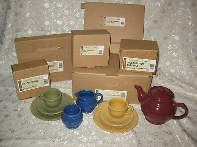9 piece Longaberger Woven Traditions Pottery Child's Tea Party Set with Teapot