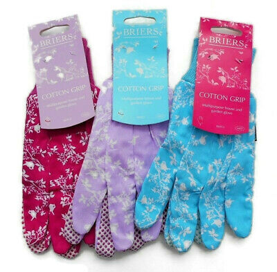 Briers Ladies Busy Floral Lavender Cotton Grip Gardening Glove