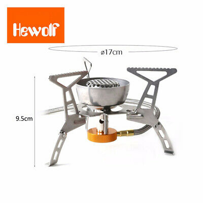 Hewolf Portable Outdoor Gas Stove Stainless Steel Split Type Windproof Furnace B
