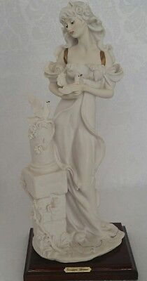 "Giuseppe Armani Figurine Ninfa Lady W/Doves Embossed Roses 13"" Retired Signed"