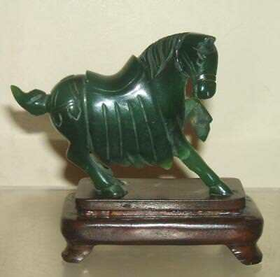 Vintage Chinese Carved Jade Coloured Jadeite Tang Horse With Wood Stand
