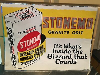 "Stonemo Granite Grit for Poultry ~ Wrap Around Sign ~ 24"" by 18"" ~ New Old Stock"