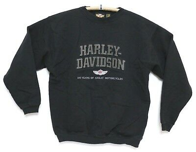 RARE Harley Davidson 100th Anniversary Sweater Kids XL Black Crew Neck