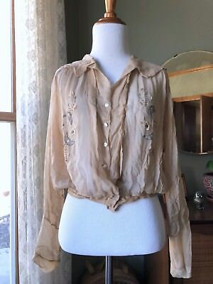 20s Blouse Silk Nude Crepe Blue Moon Beaded Stars Embroidery Antique Flapper Top