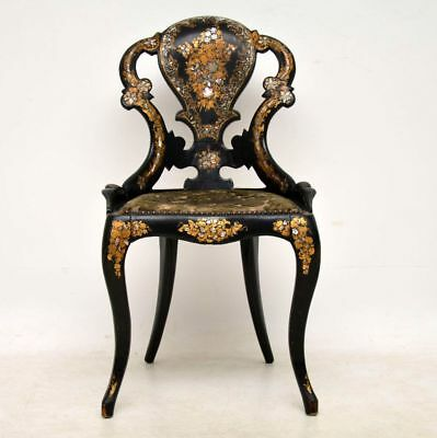 Antique Victorian Papier Mache Side Chair Inlaid With Mother Of Pearl