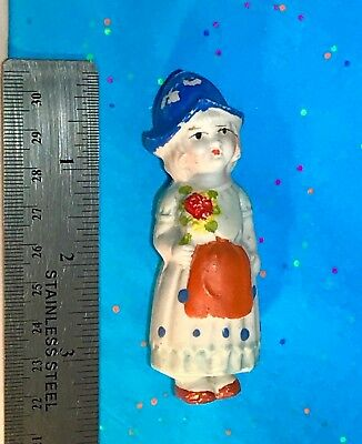 Vintage - Bisque Penny Doll - Frozen Charlotte - Dutch Girl & Flowers - JAPAN