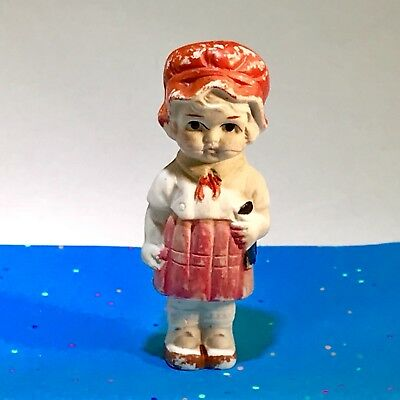 Vintage - Bisque Penny Doll - Frozen Charlotte - Girl With Book - JAPAN