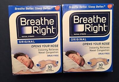 Breathe Right Nasal Strips Large Tan Original Two  Boxes 60 New