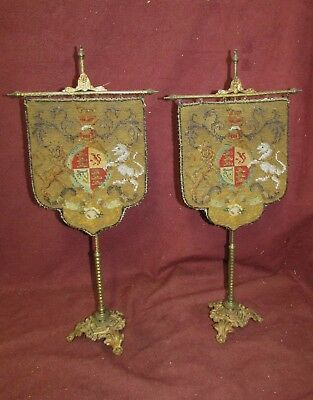 Pair Antique Bead Work Tapestry Coat of Arms Banners w/ Bronze Stands w/ Lions