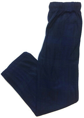 Ee Style Navy Blue Fleece Pajama Pants for Men Side Pockets Button Fly Sleep