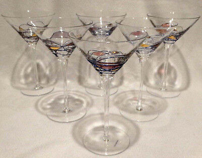"""Art Glass Set of 6 Gilded Stained Glass Design 7.5"""" Tall Martini Glasses"""