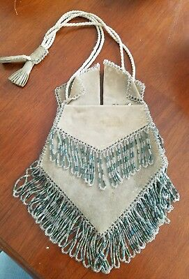 Antique Leather Beaded Purse