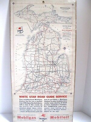 1934 Mobilgas White Star Official Auto Road Map of Michigan Advertising