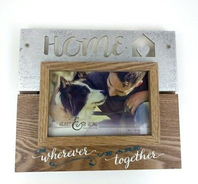 Frame Home Is Wherever We are Together Rustic 4 x 6 inch Wood Metal Heart