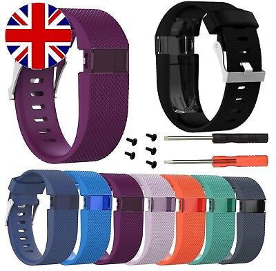Fitbit Charge HR Watch Strap Band Replacement Silicone Metal Buckle Screws Tools