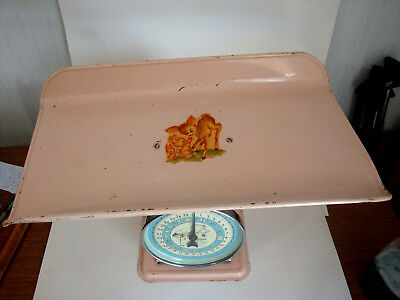 Vintage Hanson Pink Baby Nursery Scale Model  Bambi Stork  Weighs to 30 LB