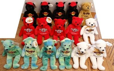 Lot of 16 Hard Rock Cafe Beanie Bears