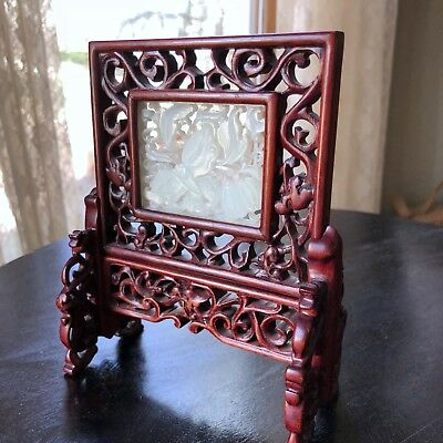 Antique White Jade Chinese Carved Plaque Panel Table Screen Butterfly Openwork