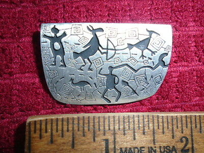 Alice Seely URBAN FETISHES Southwestern Theme PEWTER Brooch Pin 1998