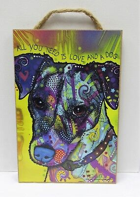 Dean Russo All You Need Is Love And A Dog Jack Russell Wood Plaque Dog Sign New