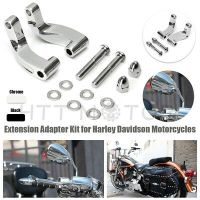 Chrome Mirror Relocation Extension Adapter Kit for Harley Davidson Motorcycles