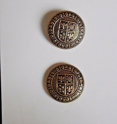 2 Vintage Round Gold Tone Brass Plated Metal Shank Buttons 1 1/8""