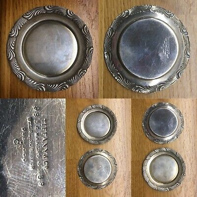 Pair of antique Tiffany & Co wave edge sterling silver pin dishes / butter pats