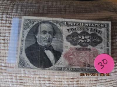 1874 25 Cents Fractional Currency Note -