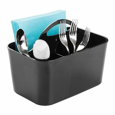 mDesign Kitchen Cabinet Divided Cutlery Storage Caddy Bin - BPA Free - 4 Section