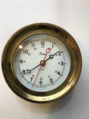 Vintage Boston Chelsea Clock USA Brass Ship's Bell Clock, 5.75""