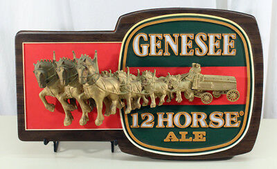 Genesee 12 Horse Ale Vintage 3-D Beer Advertising Sign Rochester New York Ny Old