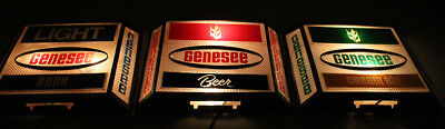 3 dif. GENESEE VINTAGE LIGHTED BEER ADVERTISING SIGNS ROCHESTER, NEW YORK NY ALE