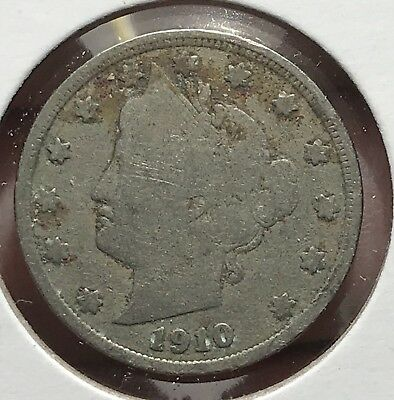 1910 Liberty V Nickel. Nice Collector Coin For Your Collection.9