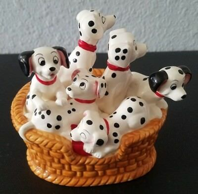 "RARE! Schmid 101 Dalmatians Music Box Dogs in Basket ""Playmates"" Disney"