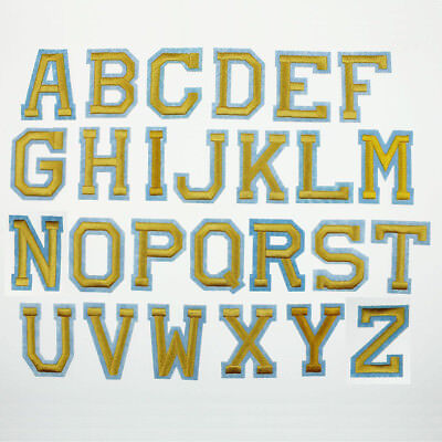 Yellow 26 Alphabet Letters Embroidered Patch Applique Badge Sewing Iron on Craft
