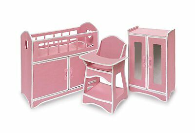Badger Basket Folding Doll Furniture Set With Storage Crib, High Chair And  Armoi