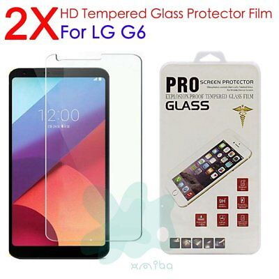 2pcs HD Premium Screen Protector Guard Tempered Glass Protective Film For LG G6