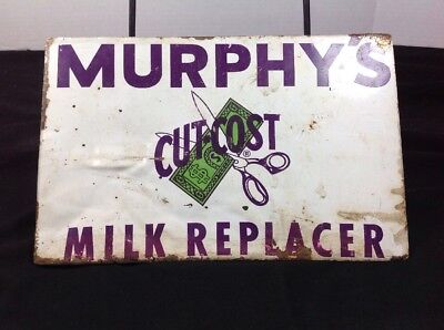 Vintage Murphy's Milk Replacer Cut Cost Sign Tin Tacker Sign