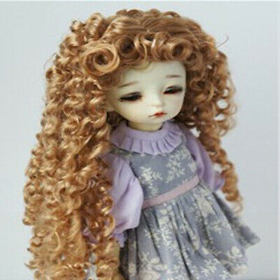 1/6 BJD Doll Curly Wig Brown Hair for  MSD Dollfie DIY Hairpiece Making