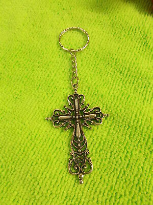 Antique Style Silver Cross On A Silver Ripple Keyring - Rounded Chain # 308