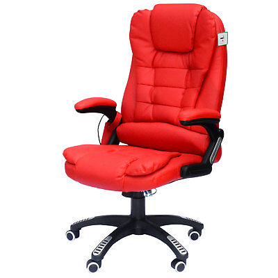 Deluxe Reclining Faux Leather Office Computer Massage Chair High Back Desk Work