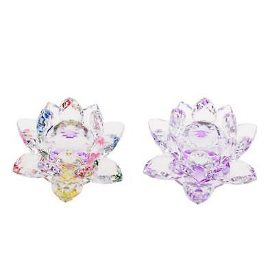 Crystal Lotus Flower Crafts Paperweight Glass Feng Shui Decor Purple & Multi