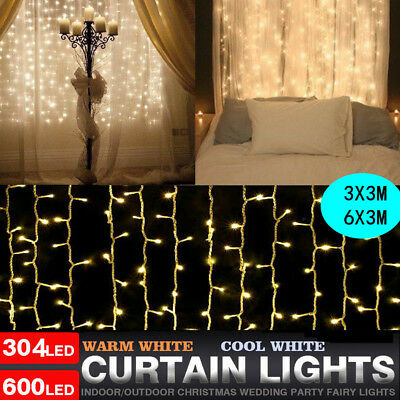 Window Curtain Icicle Lights 304 600 LED String Fairy Light New Year Decoration